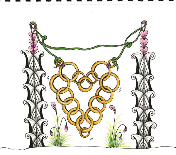 Heart-of-Gold Tangle Pattern Art Journal Prompt