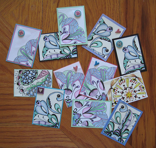 Artist Trading Cards from a Mandala