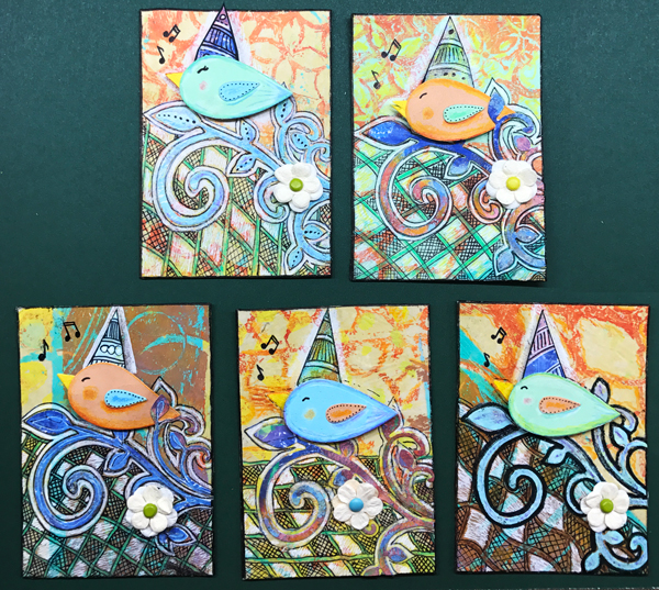 Five bird ATCs in this series