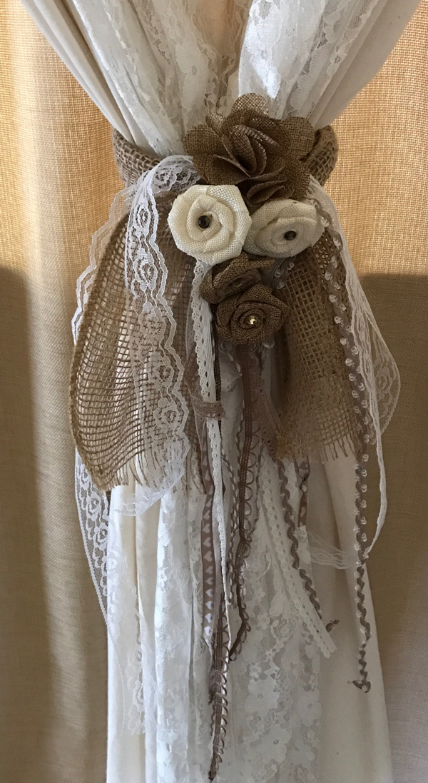 ribbon, lace, and burlap